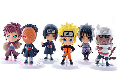 set 6 Pcs Pvc Doll Figures Action Car Ornaments Naruto Anime Sasuke Gaara