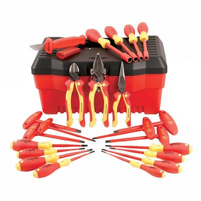 Wiha 32973 22 Piece Insulated Pliers/Cutters/Screwdriver/Nut Driver Tool Box Set