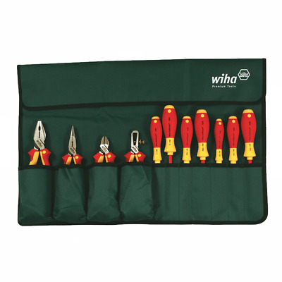 Wiha 32986 Insulated Industrial Pliers/Drivers Set in Roll Out Pouch, 11-Piece
