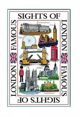 Sights of London White Tea Towel Souvenir Gift Landmarks Scenes UK Cotton GB