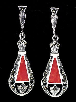 Fine Art Deco Style Red Coral Marcasite Earrings 925 Sterling Silver