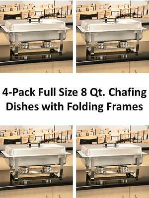 4-Pack NEW Choice Full Size Stainless Steel Chafers w/ Folding Frames