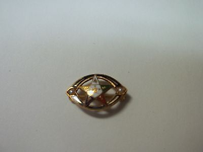 """14K yellow gold pin,EASTERN STAR,seed pearls,great cnd,1.3g weight,5/8"""" long,"""