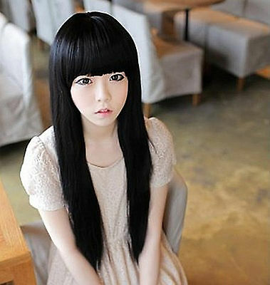 New Women Black Fancy Party Function Fringe Natrual Straight long Hair Full Wigs