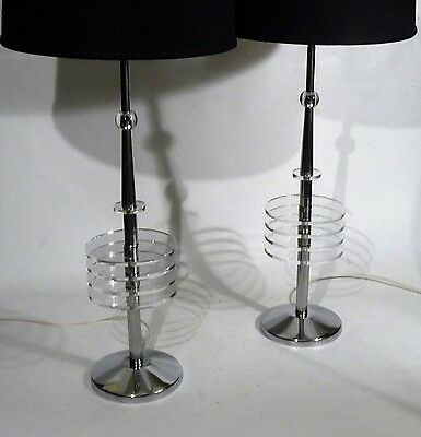 Pair Art Deco Space Age Lucite Chrome Skyscraper Tower Form Table Lamps Lights