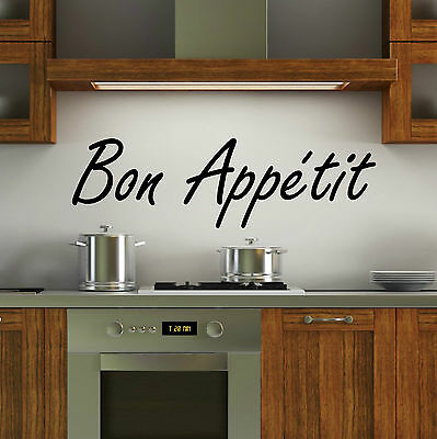 Bon Appetit Wall Art Vinyl Decal Kitchen Stickers Quote Bedroom Bath Dining FS