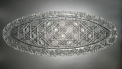 Outstanding European Heavy Cut Crystal Large Oval Fish Platter Sharp Teeth