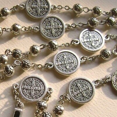 Silver Rose beads  St.Benedict Rosary & Italy Crucifix Cross catholic necklace