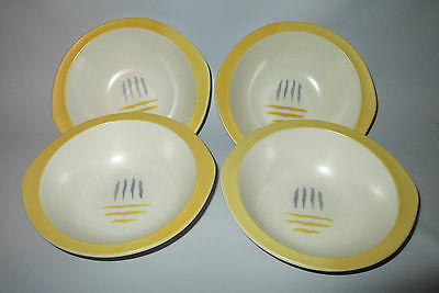 Steubenville Dimension Yellow Cereal Bowls 4 Casual Line Mid Century Modern USA