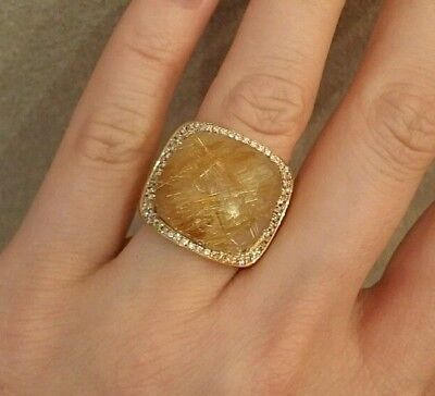 Wide Band Dome Rutilated Quartz and Diamond Ring in 18K Yellow Gold - HM1602S2