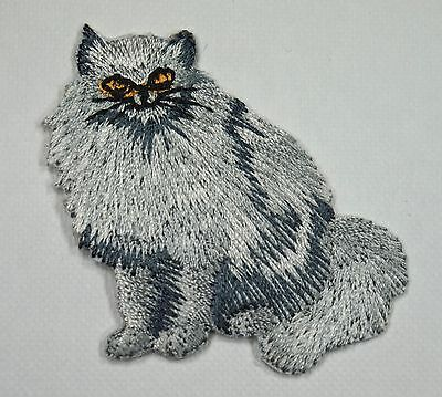 Silver grey cat Embroidered Motif Iron/Sew On Patch Badge Embroidery