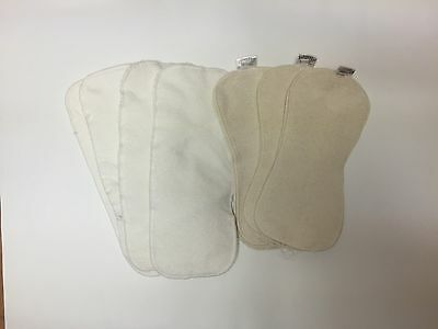 7 Diaper Liners- 4 4-layer Bamboo & 3 BabyKicks Hemp and Organic cotton
