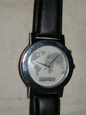 Rare 2005 Fifa World Cup Germany Watch With Map Face Black Strap & Light