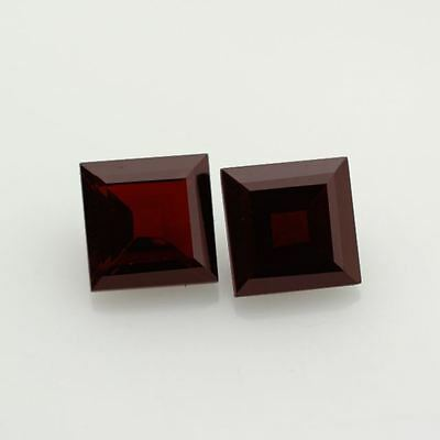 Natural Genuine Dark Red Garnet AAA Square Faceted Loose stone (2x2mm - 9x9mm)