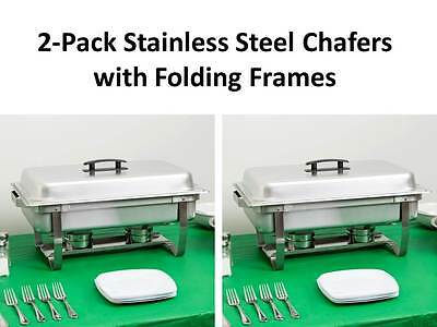 2-Pack Choice Full Size 8 Qt. Stainless Steel Chafing Dishes with Folding Frames
