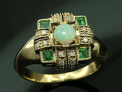 C1148 Real 9K Gold Natural SOLID Opal, Emerald & Diamond Ring Engagement yr size