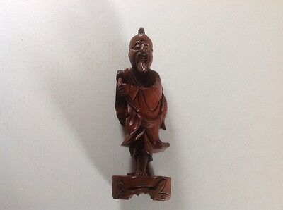 Vintage Hand Carved Chinese Fisherman Statue Figurine