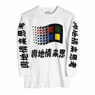 Windows 95 Japanese Vaporwave Long Sleeve T Shirt Top bronze yung lean win NEW