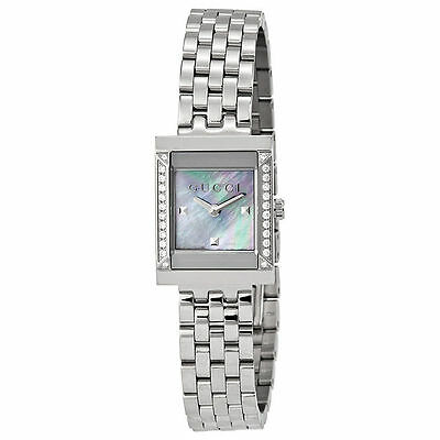 41de1f56e04 Gucci G-Frame Mother of Pearl Dial Stainless Steel Diamond Ladies Watch  YA128404