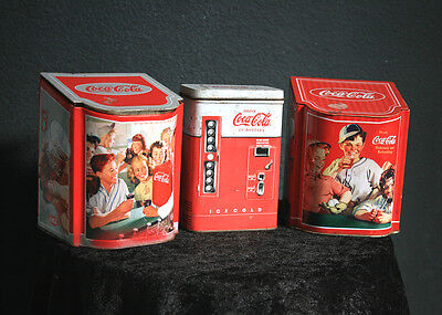 Lot of 3 Coca-Cola Lidded Tin Containers