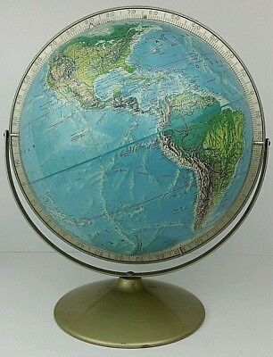 "Vtg Rand McNally World Portrait 12"" Globe Suspended Dual Axis Raised Topography"