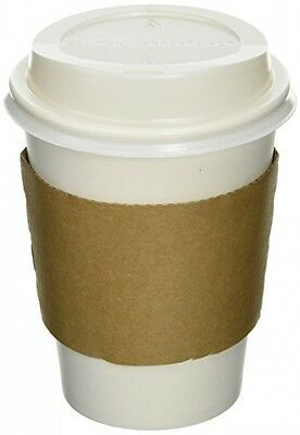 50 Paper Coffee Cup/Disposable Hot Cup 12 oz. WHITE with 50 Cappuccino Lids and