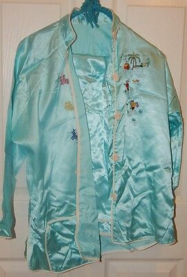 Vtg Mid Century Silk Embroidered Pin Up Asian Small Ladies Pajama Pant Suit Set