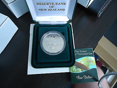 New Zealand -2003- Uncirculated 5 Dollars Coin- Giant Kokopu or Giant Trout