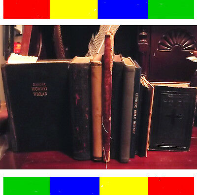 $12,000 Collection (11) Antique Native American Indian Holy Bibles & Books