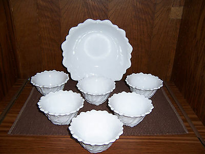 Indiana Glass Wild Rose Berry Bowl Set - Milk Glass Very Pretty- Great Condition