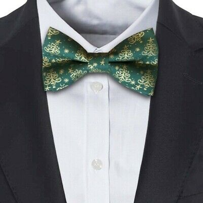 Xmas Christmas Bottle Green Mens Dickie Bow Tie with Gold Trees Hand Made in UK