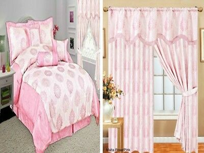 Pelmet Curtains And Pay Separately For Matching 7 Piece Bedspread Comforter Pink