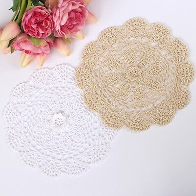 Crochet doilies white and cream 25 - 26cm for millinery and crafts