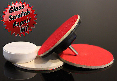"Glass SCRATCH REMOVER Polishing Kit Cerium Oxide Compound 5"" Wheel & 2x Felt Pad"