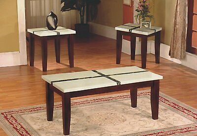 The Room Style 3pc Faux Marble Top Wood Coffee Table & End Table Set