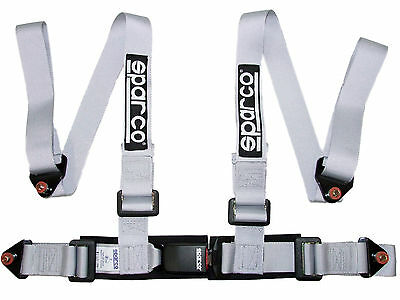 "Sparco Racing Street 4 Point Bolt-In 2"" Seat Belt Harness (Silver)"