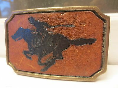 Solid Brass Belt Buckle Pony Express / Paul Revere The British Are Coming!