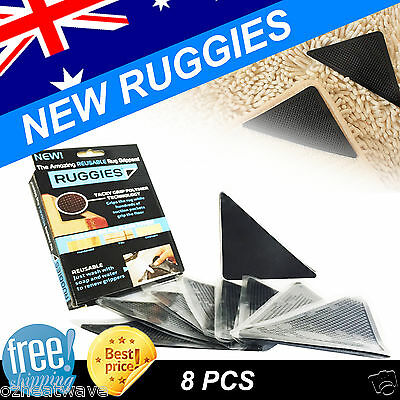8 x RUGGIES RUG Miracle GRIPPERS THE AMAZING REUSABLE RUG GRIPPERS AS SEEN ON TV