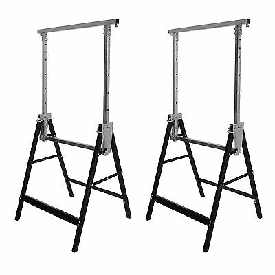 2 X Telescopic Builders Trestles Work Bench Carpentry Diy Saw Horse