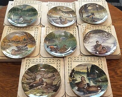 1 set of 8 Plates - 1988 Knowles - Living with Nature: Jerner's Ducks Collection