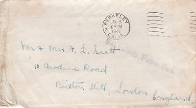 WRECK MAIL-1942 Rare 'Salvaged from Sea' cover in violet,     21734