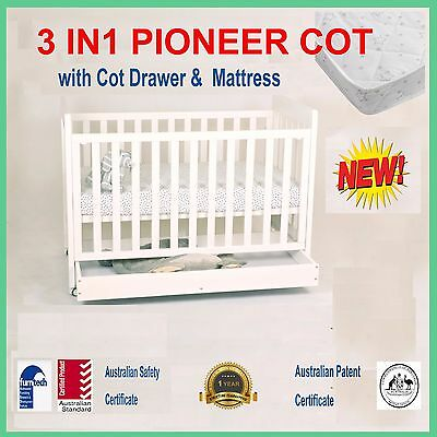 NEW 3 IN 1 PIONEER COT WITH DRAWER INNERSPRING MATTRESS baby CRIB TODDLE BED