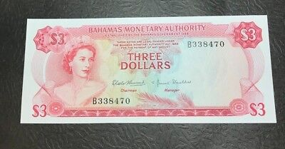 1968 Bahamas Three  3 Dollars  Elizabeth II - P # 28 Choice Uncirculated