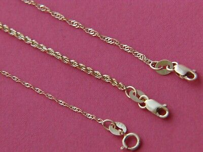 Real 14Kt Yellow Gold 2mm/1mm  Solid Italian ROPE Chain Necklace Lobster clasp
