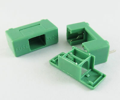 Brand New Fuse Holder DIP PTF-7 6.3A 1.6W 250V 5x20mm Green