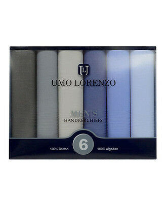 Men's 6pc. Solid Fancy Cotton Handkerchiefs (MSCB1546)