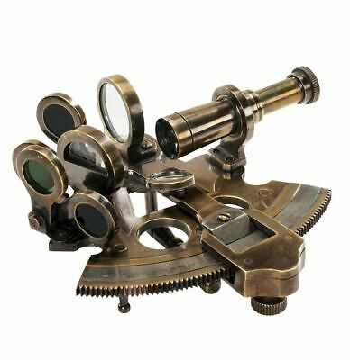 Antique Nautical Marine Bronze Ship's Sextant In Wooden Case Maritime Decor