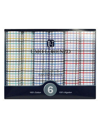 Men's 6pc. Plaid Fancy Cotton Handkerchiefs (MFB1536)