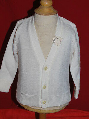 gilet blanc vintage col V années 70 made in france t 18 mois NEUF