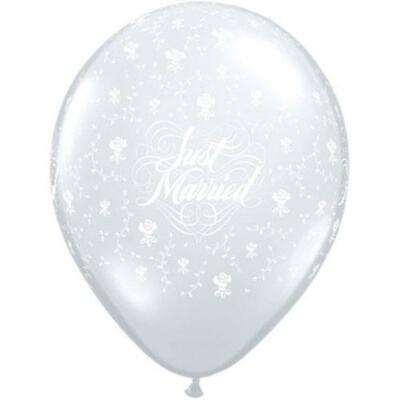"50 x Diamond Clear Just Married Flowers-A-Round 5"" Qualatex Latex Balloons"